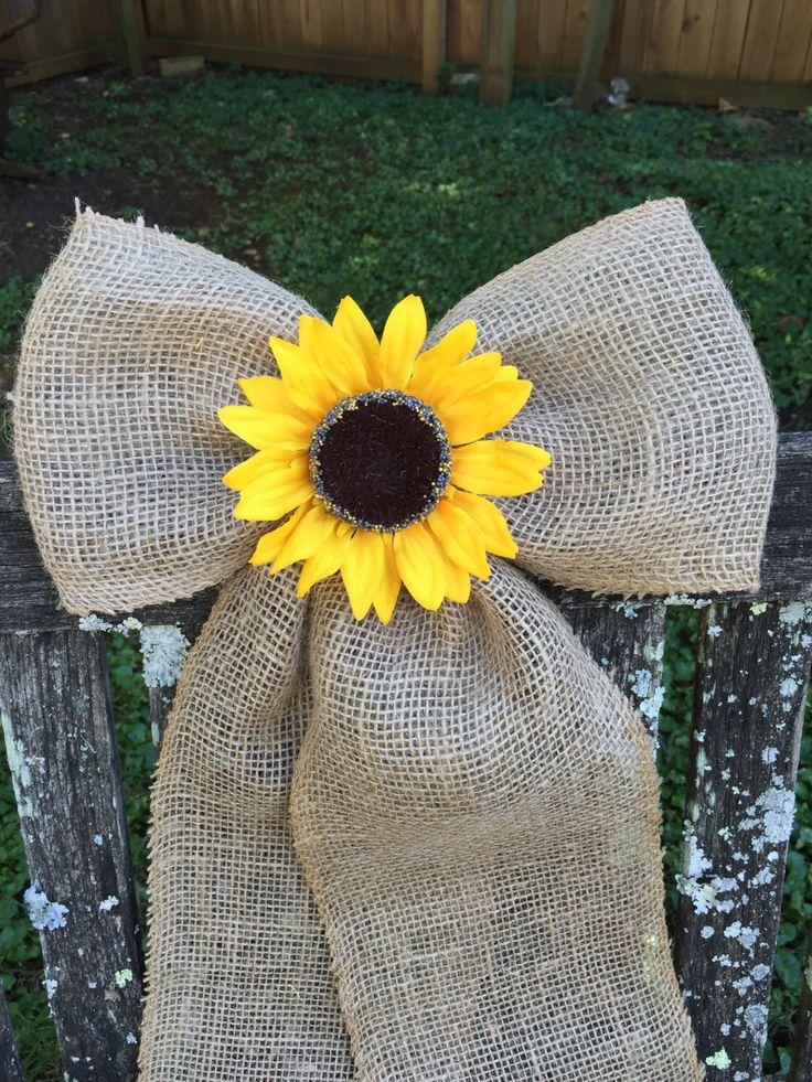 Burlap Bow / Sunflower Rustic Wedding Pew Bow / Burlap Wreath Bow / Burlap Curtain Tie Backs / Fall Wreath / Fall Wedding by DaisyDazeDesign on Etsy https://www.etsy.com/listing/480163719/burlap-bow-sunflower-rustic-wedding-pew
