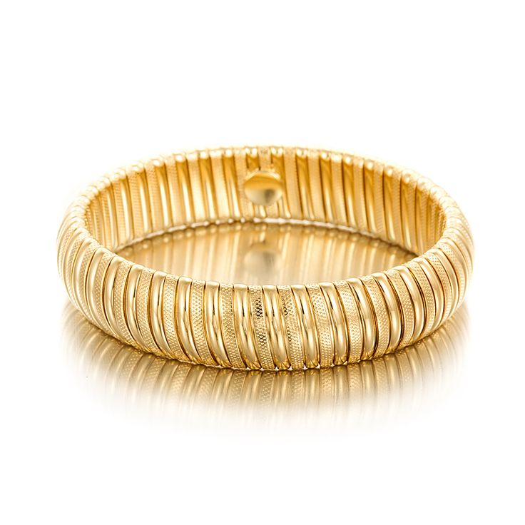 18ct Yellow Gold Layered Omega (Super Flex) Wide Bangle | Allure Gold