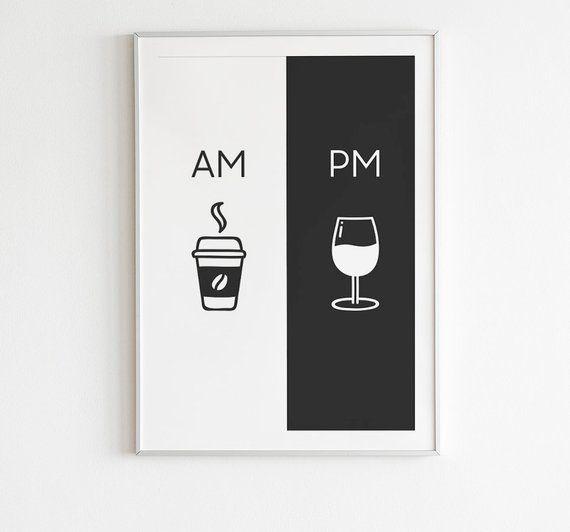 Uhr, druckbare Kunst, Küche Poster, Kaffee & Wein-Dekor, Wohnkultur, Wandkunst, Am Pm Zeichen, Wein-Zeichen, Kaffee Zeichen, Digital Download