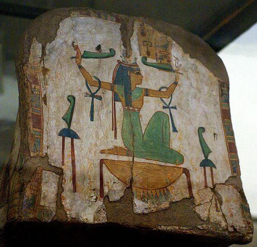 Egyptian goddess Maat on a mummy coffin. Torino, Museo Egizio
