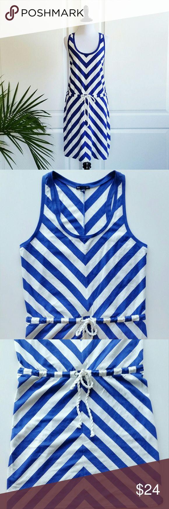 "Gap Blue Chevron Tank Drawstring Dress/Cover Up Gap Blue Chevron Tank Drawstring Dress / Cover Up  *Size Medium - Underarm to underarm : 18"" flat / Waist : 18"" flat / Shoulder to hem : 38.5"" *Royal blue / White color *Waist drawstring / Sleeveless  *60% Cotton / 40% Modal  *New without tags  *No trade GAP Dresses"