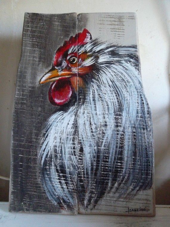 17 best images about rooster paintings on pinterest folk for Peinture sur bois