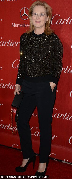 Casual: Meryl Streep opted for casual chic with black trousers rather than dresses like many of the actresses