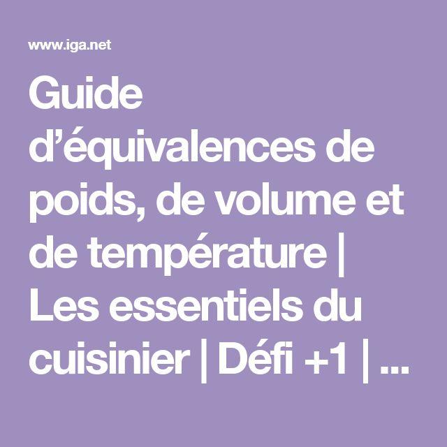 Guide d'équivalences de poids, de volume et de température | Les essentiels du cuisinier | Défi +1 | IGA