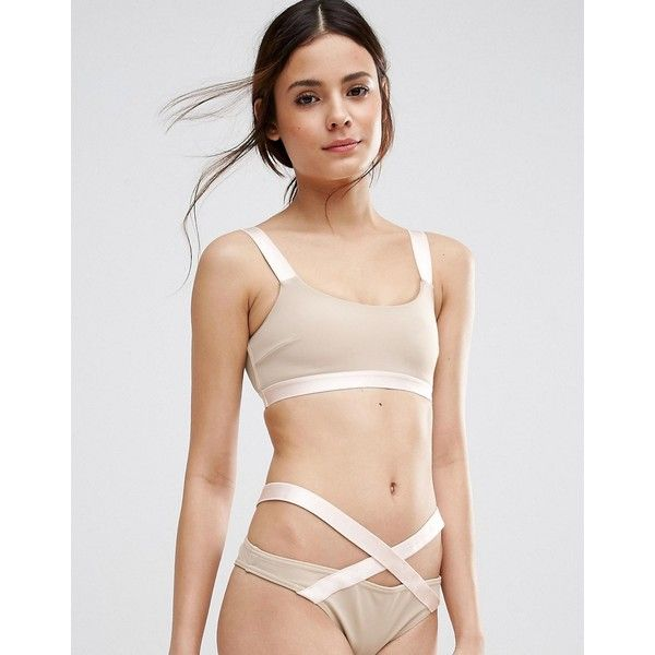 ASOS Elastic Trim Strappy Back Crop Bikini Top ($13) ❤ liked on Polyvore featuring swimwear, bikinis, bikini tops, beige, tankini tops, tankini swim tops, swim tops, crop swim top and scoop-neck bikinis