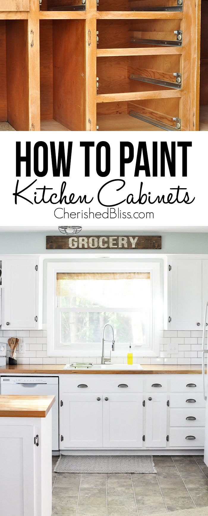 Do you have ugly kitchen cabinets that need a makeover? This tutorial shows you How to Paint Kitchen Cabinets to give your kitchen a facelift on a budget.
