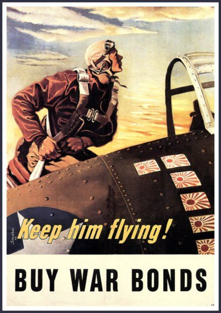 US Air Force War Bonds Advert Print World War II 8 x 10 Prints from old-time Posters. This one was put out by the US Government to encourage patriotic people to buy War Bonds. It dates from the 1940s - World War II. Lovely old Poster advert and particularly for anyone who took part in the program so long ago. Heres to them! I will be listing more of these Posters in the coming days - please check back for the new arrivals. 16