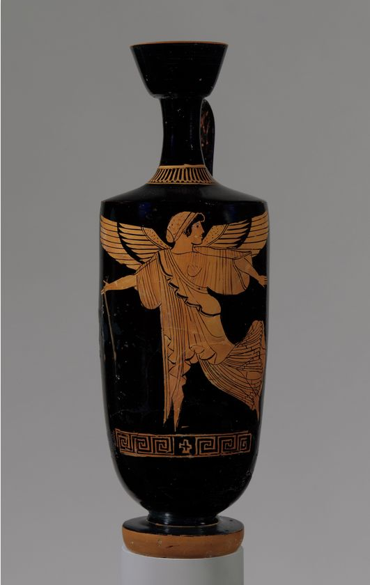 Terracotta lekythos (oil flask) -  Attributed to the manner of Douris.  Period:     Classical. Date:     ca. 480–470 B.C. Culture:     Greek, Attic. | © 2000–2014 The Metropolitan Museum of Art.