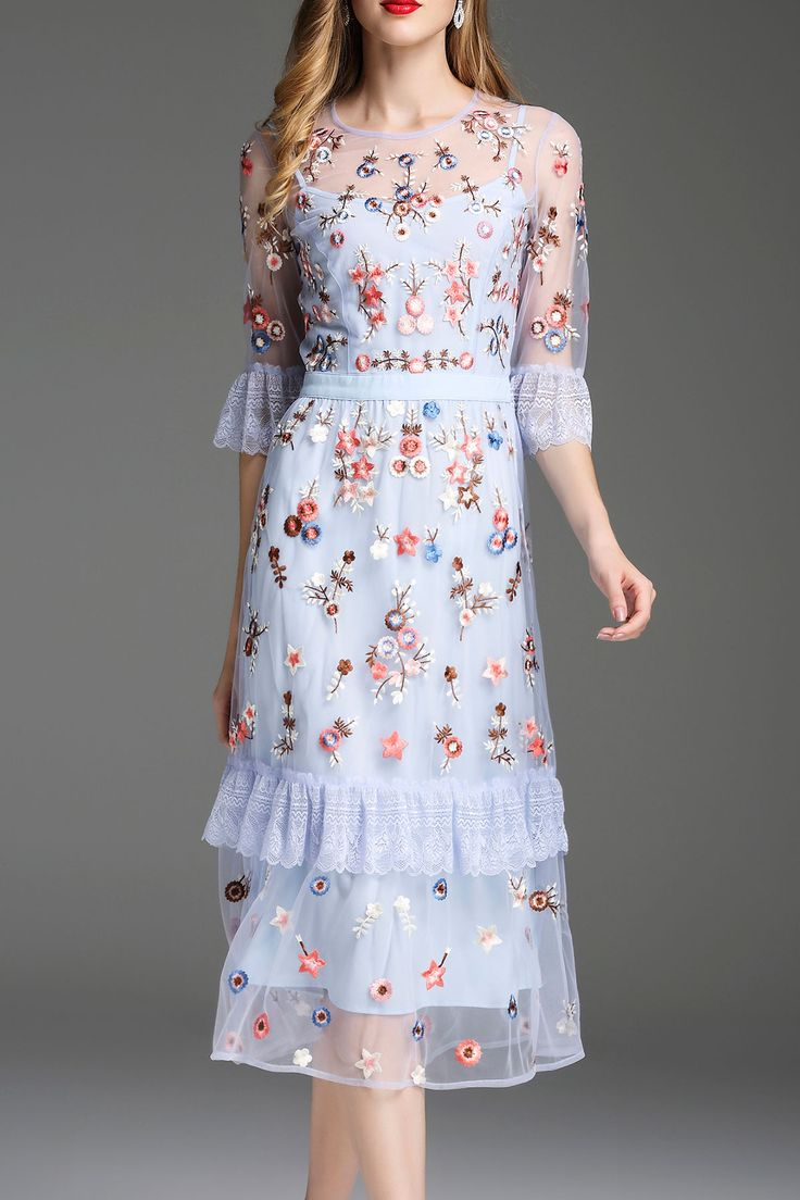 Zyym Light Blue Embroidered See Through Midi Dress | Midi Dresses at DEZZAL
