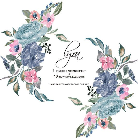 Hand Painted Watercolor French Blue Flowers Clipart One