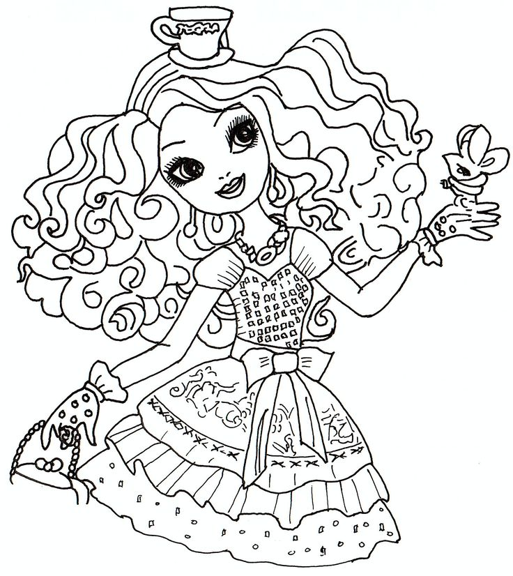 ever after high free coloring pages | Madeline Hatter Ever After High Coloring Sheet