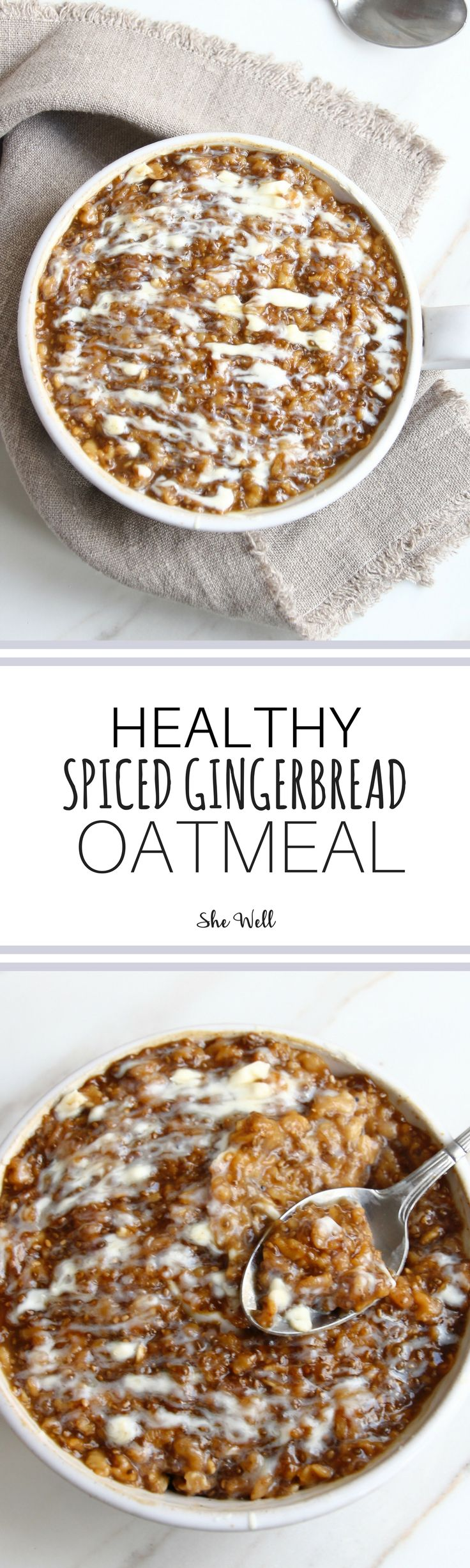 This healthy gingerbread oatmeal is the perfect breakfast or snack for the holidays! Great for people who are vegan, vegetarian, dairy-free and can be made gluten-free! Click to read now or pin for later!