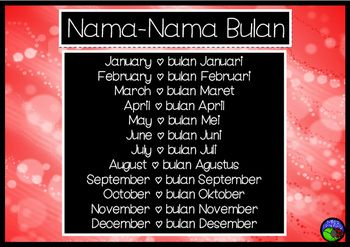 Months of the Year poster FLASHCARDS Indonesian