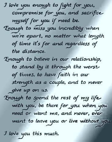 I love you enough...