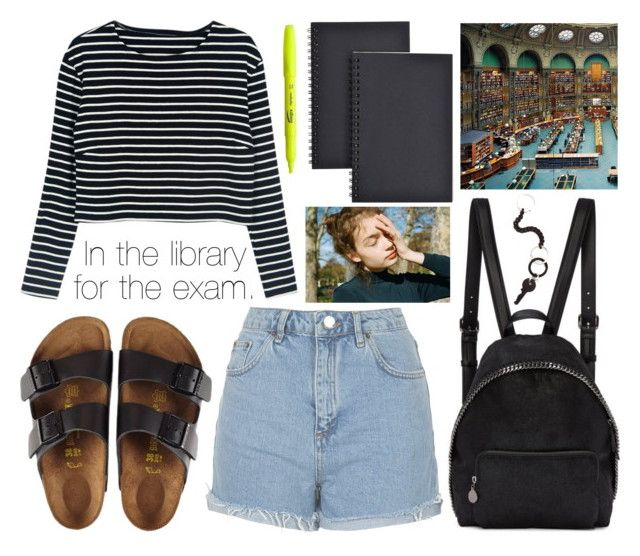 """""""In the library for the exam."""" by sunfayn on Polyvore featuring moda, Topshop, Birkenstock, STELLA McCARTNEY, Universal e MM6 Maison Margiela"""