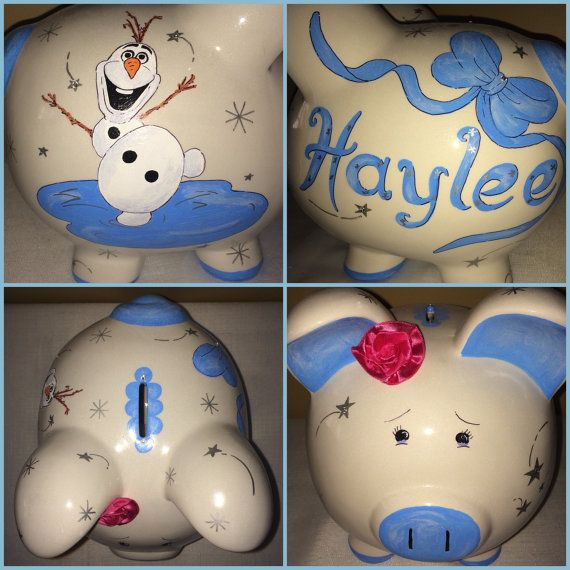 Olaf Character Design Disney's Frozen Inspired Theme Girls Large Hand Painted and Personalized Piggy Bank by RosePaisleyPig  Great gift for a baby shower, birthday, christmas or just because !  www.etsy.com/shop/rosepaisleypig