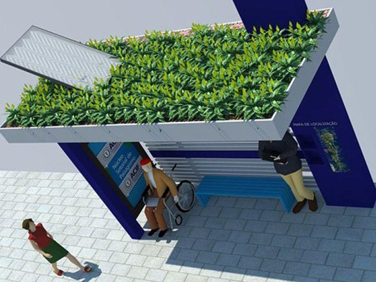 O ponto de ônibus também armazena água da chuva para irrigar seu telhado verde.