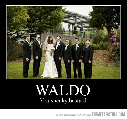 hahahahaha i want one of these when i get married   who  39 s willing to be waldo