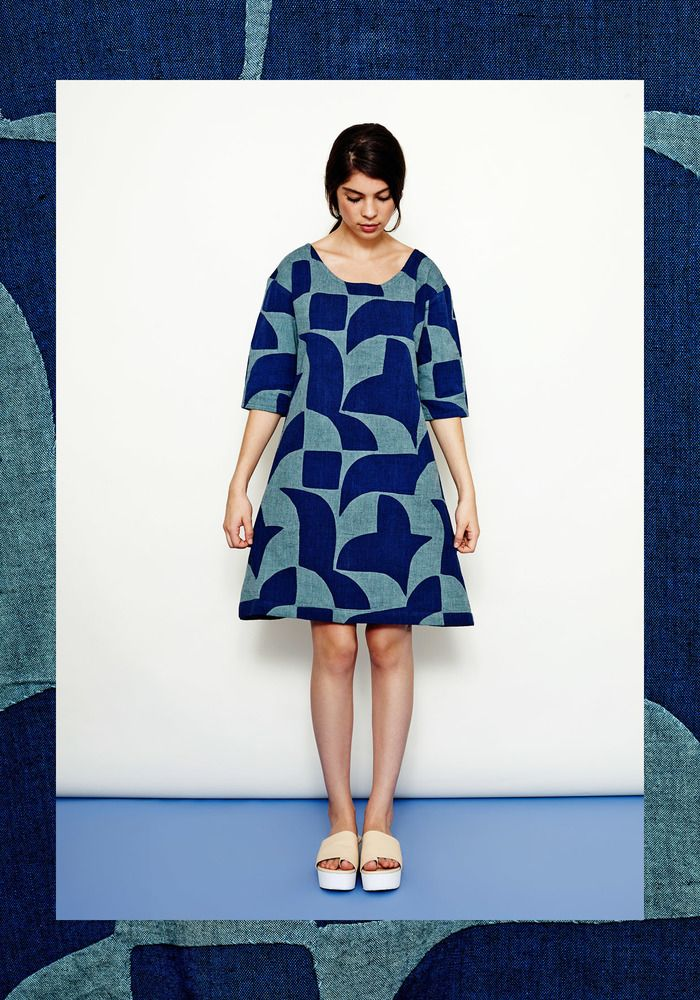 Image of Braid Dress- Dark Blue with Moss Green Hand-Appliqué