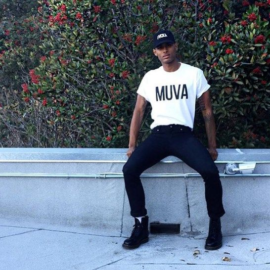 "My very sexy Assistant  @isaiahjoseph Rocking The Amber Rose Collection ""MUVA"" TShirt and ""FVCKA"" Hat Available Now!!! Link in my Bio  by amberrose"