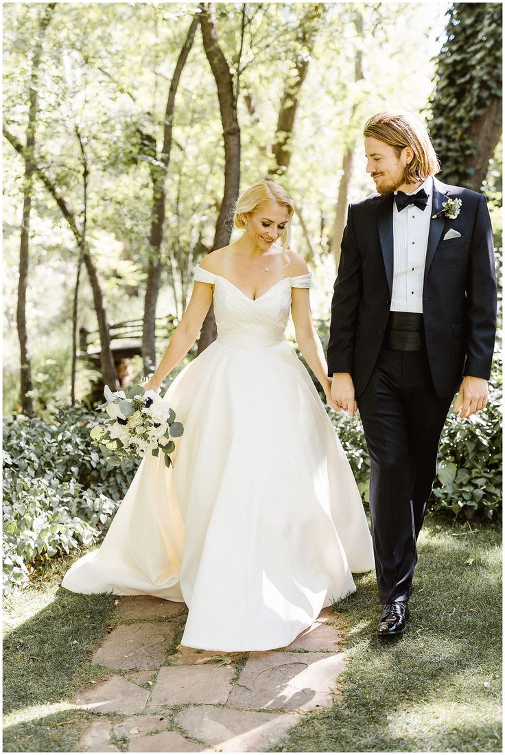"Beautiful bride Gabrielle in the off the shoulder wedding gown ""Berkeley"" by Anne Barge."