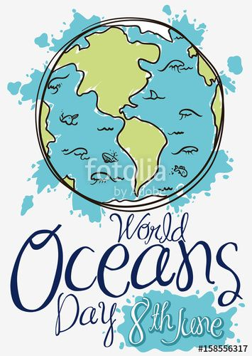 Earth with Marine Fauna in Doodle Style for Oceans Day