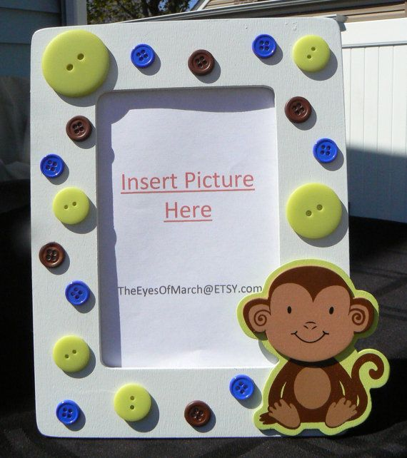 Monkey Button Picture Frame Baby Shower or by theeyesofmarch, $12.00