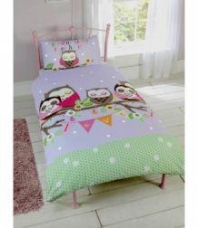 eenpersoons dekbedovertrek uiltjes lila paars meisjes uilen kamer