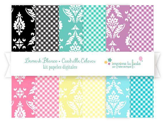 """Nuevo Kit de papeles Digitales """"Damask Blanco"""" para Diseño de Tarjetas, Scrapbooking, Diseño Web y más! Ven a verlos a : #digitalpaperwww.imprimetufiesta.etsy.com"""
