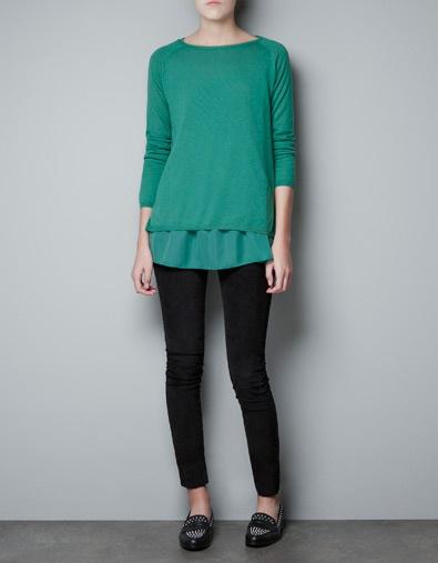 #green #SWEATER WITH CHIFFON FRILL TRIM - Knitwear - Woman - @ZARA $59.90