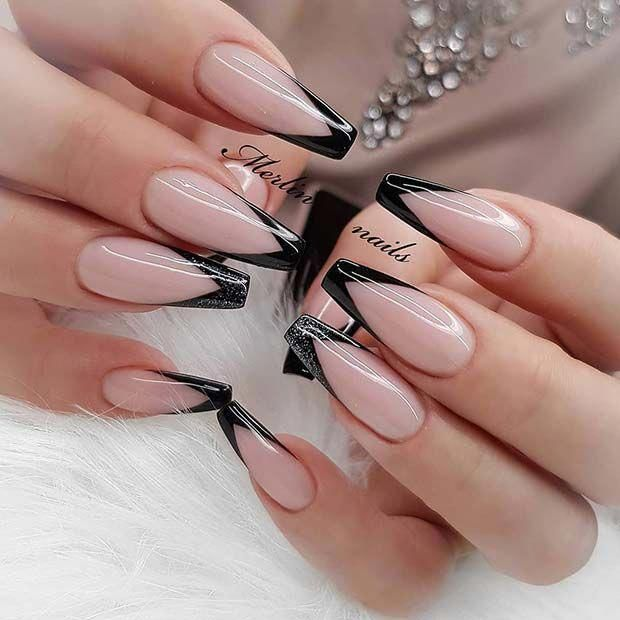 Edgy Coffin Nails With Black Tips Coffinnails French Tip Nail Designs Black Nail Designs Trendy Nails
