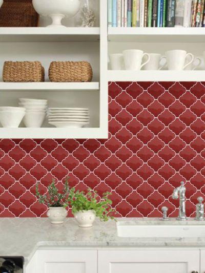 Red Arabesque Lantern Tile