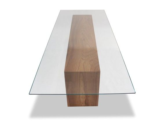 Glass Top & Solid Wood Dining Table - Dering Hall THink Sid duff in could recreate this