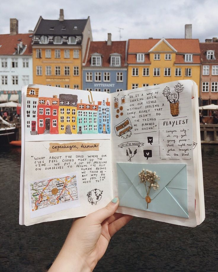 I had a wonderful time in Copenhagen ✨ Here's a picture of my journal in Nyhavn, one of the most iconic places in this city! #nyhavn…