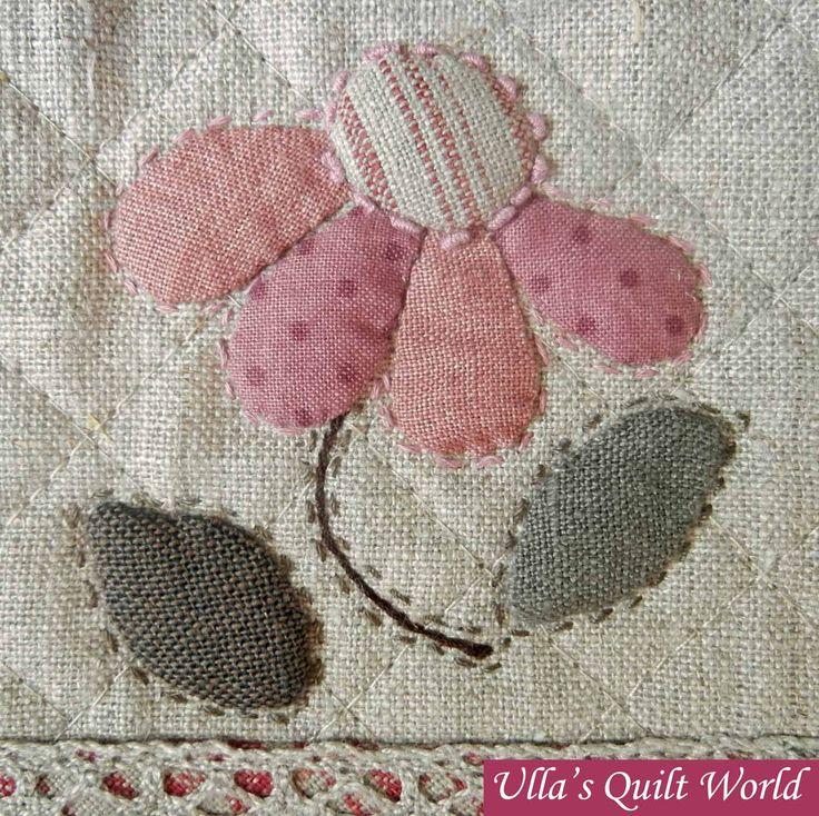 Love the faux stitch needlework.Ulla Mundial do edredon: saco de Quilt - patchwork japonês