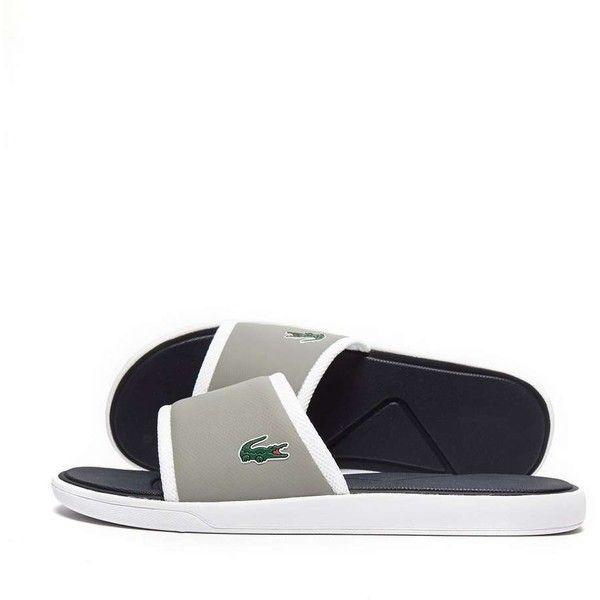 Lacoste L30 Slide ($46) ❤ liked on Polyvore featuring men's fashion, men's shoes, men's sandals, mens summer sandals, mens summer shoes, crocs mens shoes, mens shoes and mens crocs sandals