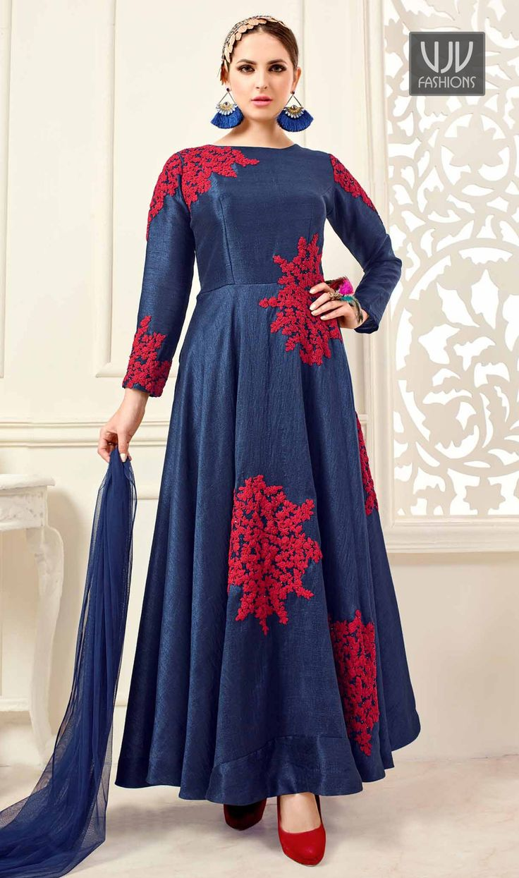 Catchy Blue Banglori Silk Floor Length Anarkali Suit An remarkable navy blue banglori silk floor length anarkali suit will make you appear highly stylish and graceful. The embroidered work appears chic and ideally suited for festival and party.