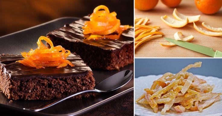 Brownies de chocolate con almendras y naranjas confitadas