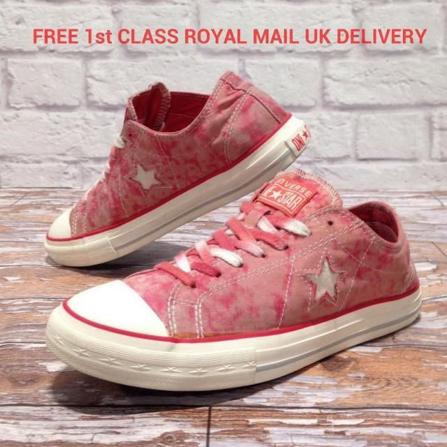 8766702e21f4 RARE Converse ONE STAR Vintage Shoes Pink Red White. Size UK 7