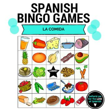 Build Spanish food vocabulary quickly! Learn the names of popular foods in Spanish with these bright and beautiful bingo cards. Includes names of 25 foods in Spanish and 2 differentiated call lists: one with words only or full sentences describing each food.