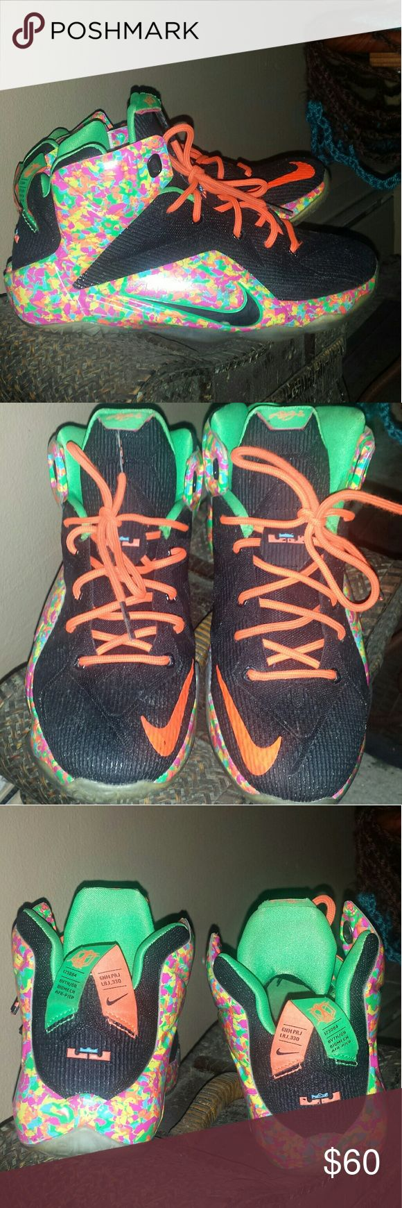 LeBron 12 Fruity pebbles size 6.5y or 8 in women Good condition.  Size 6.5y or about an 8 in women's. Nike lebron 12 fruity pebble. No box, sorry. Nike Shoes Sneakers