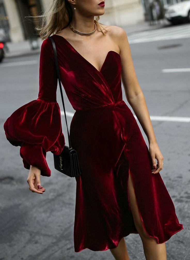 Red velvet asymmetrical dress, gold choker, red lips, black bow pumps and a black cross body handbag {Johanna Ortiz, Miu Miu, YSL, what to wear to the theater, what to wear to the ballet, what to wear to the opera, occasion dressing, winter style, fall fashion, classic style, fashion blogger}