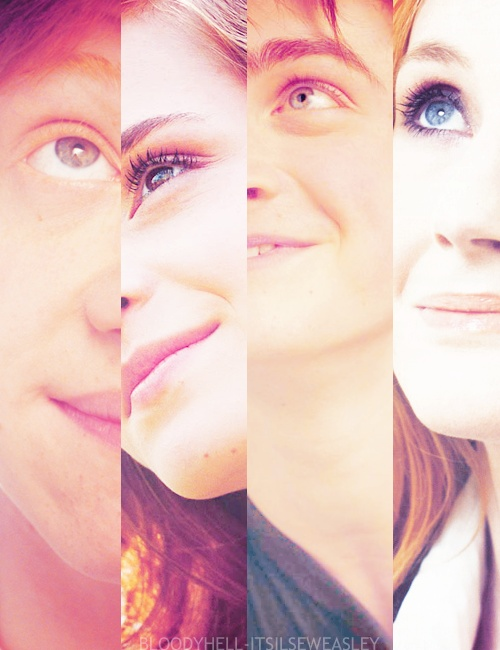 always stay looking up. it's where the magic lives.   Left to right: Rupert Grint (Ron Weasley), Emma Watson (Hermione Granger), Dan Radcliffe (Harry Potter), and Bonnie Wright (Ginny Weasley)