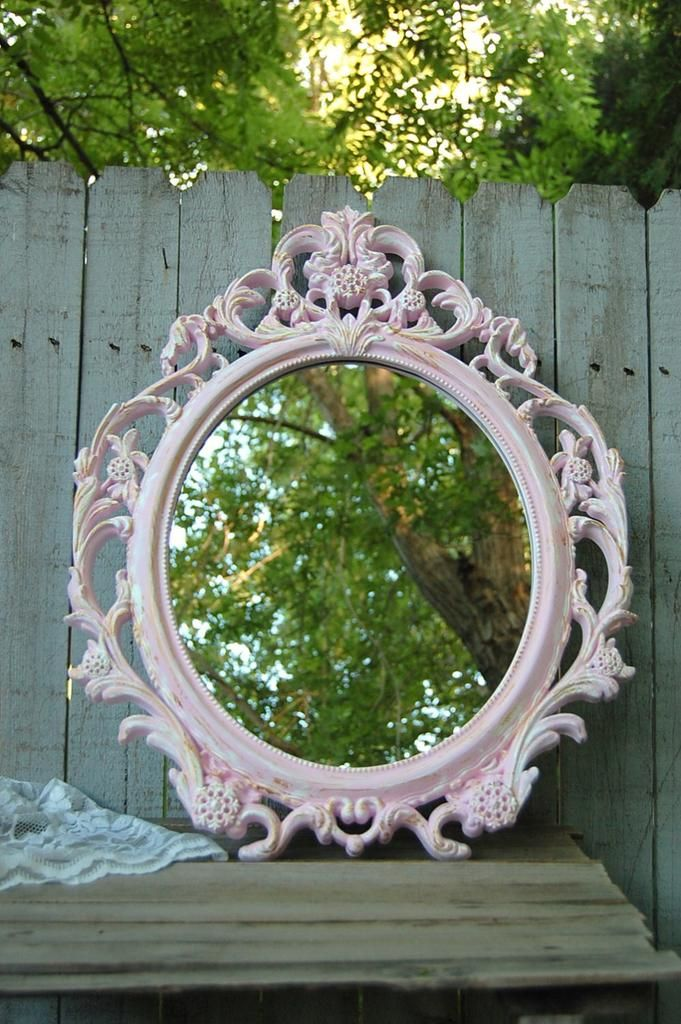 Baroque oval mirror, hand painted in soft pink, accented in white and gold, with a protective coating. The mirror has a picture wire hanger. Perfect for wedding, shabby chic, nursery or cottage decor.