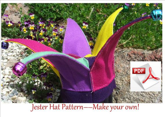 Jester Hat PDF pattern.  Easy and fun to make.  Fits children 6 to18 months. INSTANT DOWNLOAD.