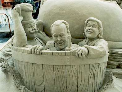 Rub-a-dub-dub, Three men in a tub.  A butcher, a baker, and a candlestick maker.