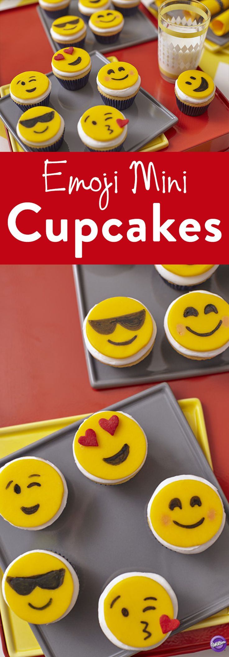 How to Make Emoji Mini Cupcakes - Express yourself with fondant emojis that add as much personality to your cupcakes as they do to e-mails! Decorate with FoodWriter edible color markers, Pearl Dust and Jumbo Hearts Sprinkles.