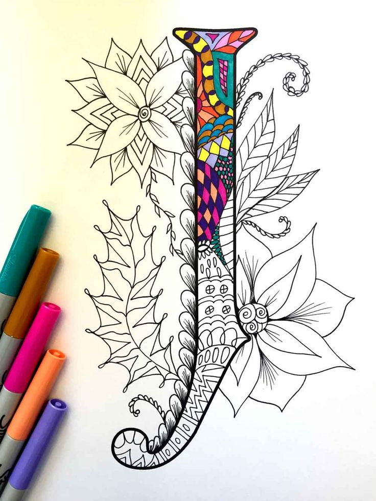 8.5 x 11» PDF coloriage de la lettre majuscule «J» - inspiré par la police d'écriture «Harrington»  Plaisir pour tous les âges.  Soulager le stress, ou tout simplement se détendre et s'amuser à l'aide de vos crayons de couleurs préférées, stylos, aquarelles, peinture, pastels ou crayons de couleur.  Impression sur du papier cartonné ou autre papier épais (recommandé).  Art original par Devyn Brewer (DJPenscript).  Pour un usage personnel seulement. S'il vous plaît ne pas reproduire ou…