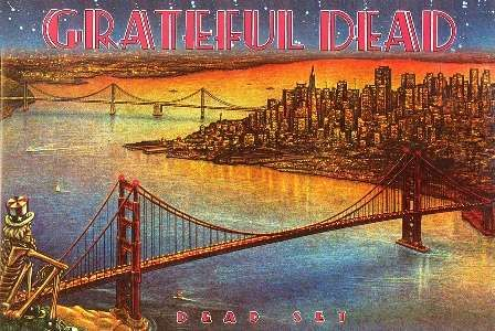 """Grateful Dead - Dead Set Poster  Vintage style Grateful Dead poster. This one resembles the 1981 live album cover of Dead Set. The Dancing Skeleton overlooking the San Francisco Bay. It measures approximately 36"""" x 24"""" and would look great on your wall or dorm room. Officially licensed Grateful Dead merchandise. #sunshinedaydream #hippieshop"""