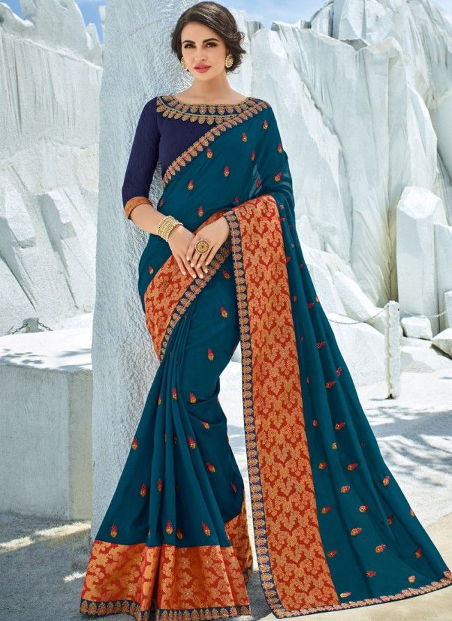 4e178f6278 Art Silk Patch Border Teal Saree | saree | Saree, Embroidered silk ...
